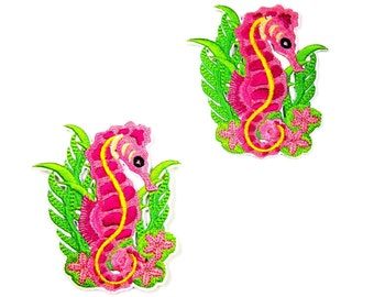 Seahorse iron on applique - Pink iron on patch - Jeans iron on patch. UK Seller