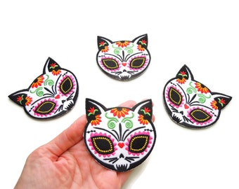 Cat iron patch - Sugar Skull cat iron on patch - Mexican tatoo cat - Sugar skull cat - Cool cat patch - Day of the dead cat sew on patch