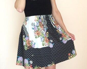 Elastic skirt floral, high waist skirt, one size skirt