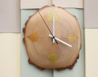 Natural Birch Wood Wall Clock - Natural Home Décor Live edge wood clock made from spalted birch, mother's day gift birthday gift for her him
