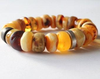 Amber bracelet for men, amber jewelry, amber bracelet for him, natural Baltic amber, modern amber bracelet, gift for him, man bracelet