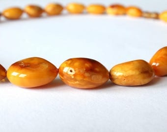 Long butterscotch amber necklace, natural Baltic amber beads, antique amber jewelry, natural Baltic amber, organic amber beads, gift for her