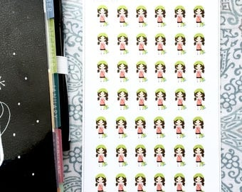 Cleaning Housework Girl Stickers - S204