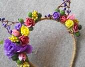 Flower crown Headband Kitty Ears Flowers Cat Ears Baby cat ears Bachelorette part Cat Ears Bridesmaids bride Floral Hen Night Party LV12