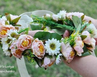 Wedding flower crown Bridal Crown Flower Girl Crown Wedding hair wreath Peach flower crown Bridal flower crown Floral crown Ready to LV12
