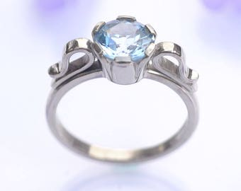 Size K 1/2 (US 5 3/8) Aquamarine Ring in Scroll Design in 18k White Gold