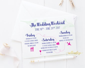 Wedding Weekend Itinerary, Wedding Stationery, Wedding Weekend