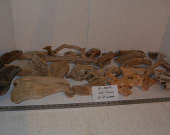 20 Driftwood Pieces, Coastal Drift Wood, Lot E-009, Terrariums, Aquarium, Taxidermy, Weddings, Decorations, Arts and Crafts, DIY Projects