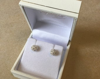 CZ diamond and sterling silver ball earrings