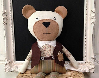 Stuffed Bear Handmade / Boy Bear / Stuffed Animal / Handmade Stuffed Animals / Plushies / Stuffed Teddy Bear / Rag Dolls / Stuffed Bear Doll