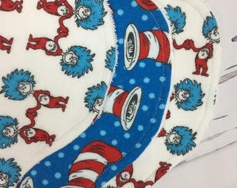 Dr. Seuss Baby Burp Cloths, Dr. Seuss Baby Gift, Set of Four Burp Cloths, Red, Blue White, Thing One, Thing Two, Dr. Seuess Nursery