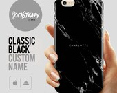 Custom Black Marble Phone case personalised name iPhone 7 case iPhone 6s 6 Plus 5S SE personalized samsung Galaxy S8 S6 S7 S5 cover