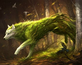 "Spirit Wolf of the Forest painting 8"" X 10"" Print"