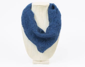 Navy Blue Lace Hand Knit Cowl/Infinity Scarf