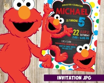 Elmo Sesame Street Invitation, Elmo Sesame Street  Party, Sesame Street Birthday Invitation,  Boy Invitation, Sesame Street Theme Printables