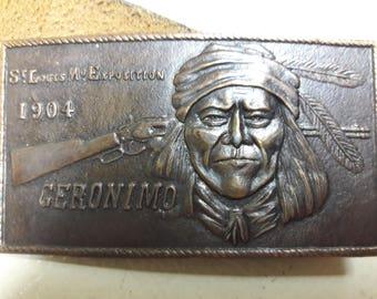 Vintage Geronimo Belt 1970s Leather Belt Commemorative St Louis Expedition Souvenir