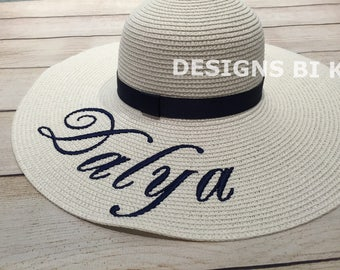 Monogrammed hat, Personalized straw hat, Personalized hat, Floppy straw hat, Beach hat, Straw hat, Bachelorette party, Bridal Shower Gift