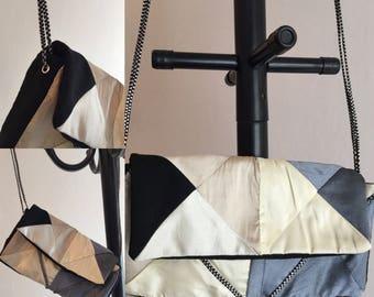 Monochrome patchwork evening bag