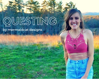 Crochet crop top halter pattern -Questing-