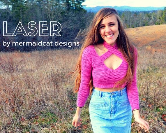 Sexy crochet crop top sweater pattern halter neck -Laser