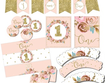 Blush pink and gold Birthday Party Package - First Birthday decorations pack - Printable birthday set - Floral party decor -  Party Kit