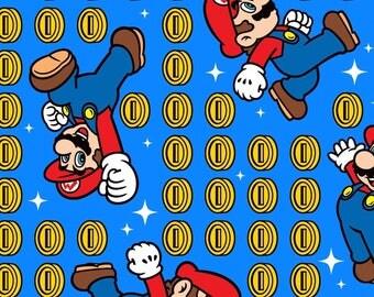 Nintendo Super Mario & coin toss Premium 100% Cotton fabric (SC44)