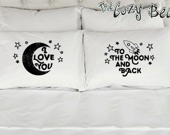 I Love You To The Moon and Back, Couples Printed Pillowcases (Set of 2) Wedding, Anniversary, Bridal Shower Gift