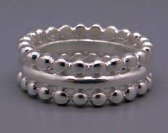 Handmade Sterling Silver 7.5mm Wide Bead Eternity Band Ring