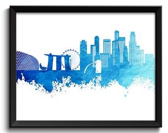 Singapore Skyline Painting Poster Print Navy Blue Turquoise Singapore Wall Decor Singapore Wall Art Asia City Map Home Decor
