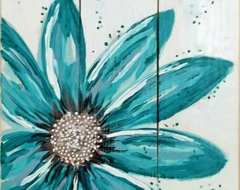 Turquoise Flower Reproduction on Canvas