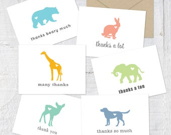 SET OF 36-thank you cards, baby shower thank you card, baby thank you cards,animal cards,animal thank you,birthday thank you cards,kids card