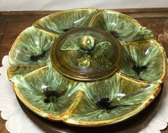 California Pottery Lazy Susan Snack or Relish Tray ~Green Drip Glaze