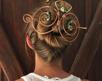 Hair accessory, Beautiful handmade swirled copper, hair barrette and slide-in stick with all natural stones, hair jewelry for long hair
