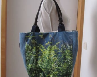 Shopper in handmade, Shopper bag, Tote in handmade, shoulder bag, Jeans fabric, home decoration, design, weekend bag, up-cycled jeans