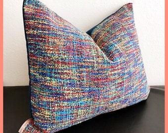 Multi-Colored Woven Decor Pillow-European Accent Pillow -Red/Blue/Green Pillow Cover-Designer Throw Pillow-Denim Pillow