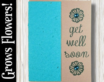 """CUSTOMIZABLE - Grows 13 different Wildflowers - """"Get well soon"""" - Plant the Card! - #GW003"""