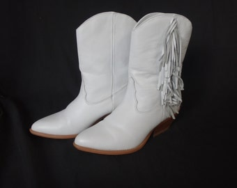 White Fringe Zodiac Z Line Cowgirl Boots/ White Cowboy Boots with Fringe/ White Zodiac Boots/ White Western Boots with Small Heel & Fringe