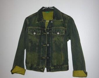 Vintage Denim Jacket / Green Tint Jean Jacket / Neon Green Jean Jacket/ Jean Jacket Made in Italy of Benetton