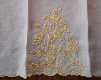 Vintage Tea Towel - Hand Embroidered  Linen- Yellow flowers