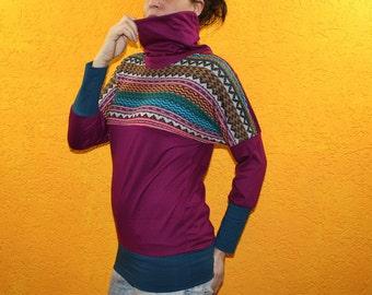 Longsleeve berry colorful ethno petrol collar bat colorful aztec boho streetwear bright colors shirt top long sleeve dolman