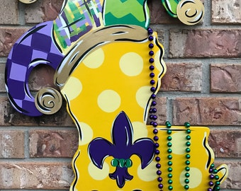 Louisiana door hanger, Louisiana decor, Mardi Gras door hanger, Mardi Gras door sign, jester hat, Fat Tuesday, Louisianabluebird