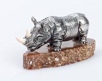 """Silver Figurine """"Rhinoceros"""""""