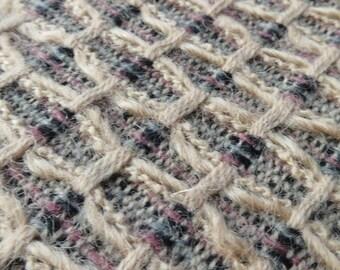 Vintage Linton Tweed Wool Fabric Length-  Beige Honeycombe Weave- 390 x 145 cm