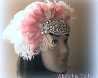 1920s headpiece/Wedding headpiece/Peacock headpiece/flapper/Gatsby headpiece/Rhinestone headpiece/hair accessories/Pink Moon
