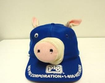 vintage pig hat cap,hog pork bbq trucker mesh hat,cool fun snap back,vintage festival cookout,one size fits all