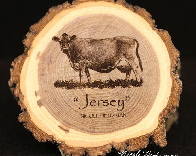 Father's Day Gift for Men Cattle Jersey Cow Coaster Wood Farm Decor Dairy Cattle Art Jersey Cow engraved Wood Coasters by Nicole Heitzman