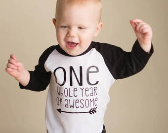 One Whole Year of Awesome Shirt | First Birthday Shirt | 1st Birthday Shirt | Boys Birthday Shirt | Girls 1st birthday | baseball tee | one