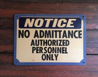 Vintage Metal Notice Sign/ Micro-Wave Oven Warning/ Measures: