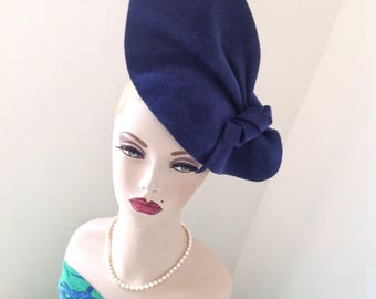 Vintage style, 1940s inspired Royal Blue sculptured Felt hat, can be worn 2 ways