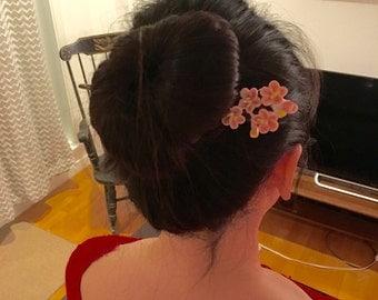 Flower hair stick chinese hair stick bun maker hand painted porcelain hair stick pink flower hair maker wedding hair accessary crystal hair
